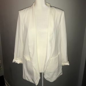H&M Open Front Casual Career White Blazer Jacket